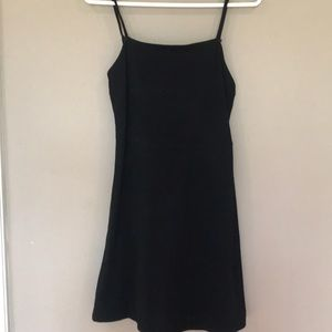 Black mini skater dress.